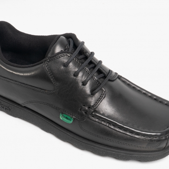 Kickers Boys Fragma Lace Up Black Leather Shoes