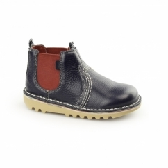 KICK CHELS Kids Leather Chelsea Boots Dark Blue