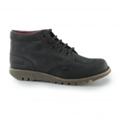 KICK HI C Ladies Nubuck Leather Lace Up Boots Black