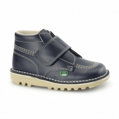 KICK KILO Kids Leather Velcro Boots Navy