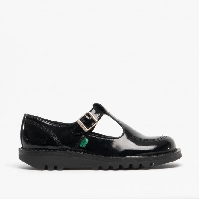 KICK LO AZTEC Ladies Patent Leather T Bar Shoes Black
