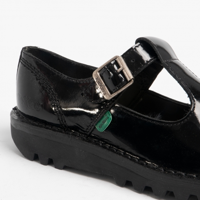 Kickers KICK LO AZTEC Ladies Patent Leather T Bar Shoes Black
