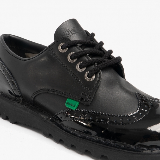 hot sale online factory outlets shades of KICK LO BROGUE Ladies Patent Leather Shoes Black
