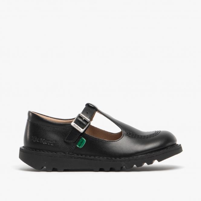 Girls Kickers Tovni Leather School Shoes Black UK-2.5 EU-35 Junior