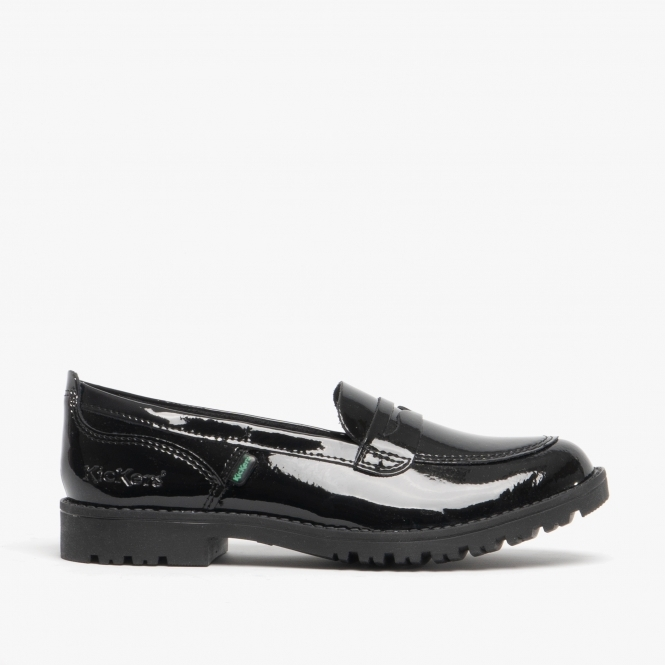 d28f9b4f Kickers LACHLY LOAFER Girls Quality Patent Leather Shoes Black|Shuperb