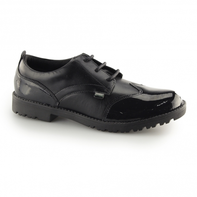 Kickers LACHLY LACE Ladies Leather/Patent Derby Shoes Black