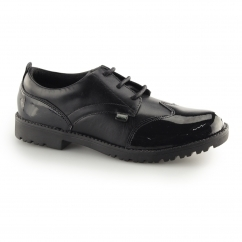 LACHLY LACE Ladies Leather/Patent Derby Shoes Black