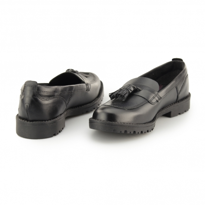 2964bcfafbff Kickers LACHLY LOAFER Girls Leather Tassel Loafers Black | Shuperb