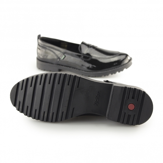 e0274915 Kickers LACHLY LOAFER Ladies Patent Leather Loafers Black | Shuperb