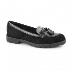 Kickers LACHLY TASS Ladies Suede Tassel Loafers Black
