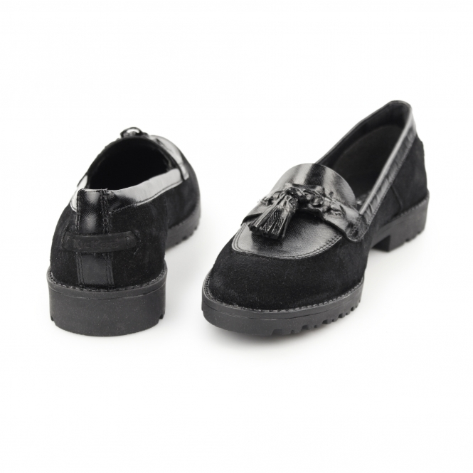f1d5732525f4 Kickers LACHLY TASS Ladies Suede Tassel Loafers Black | Shuperb