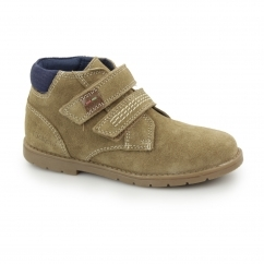 Kickers ORIN TWIN Kids Suede Touch Fastened Desert Boots Light Tan