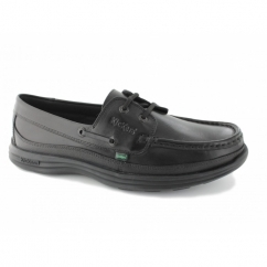 REASAN BOAT Mens Leather Deck Shoes Black