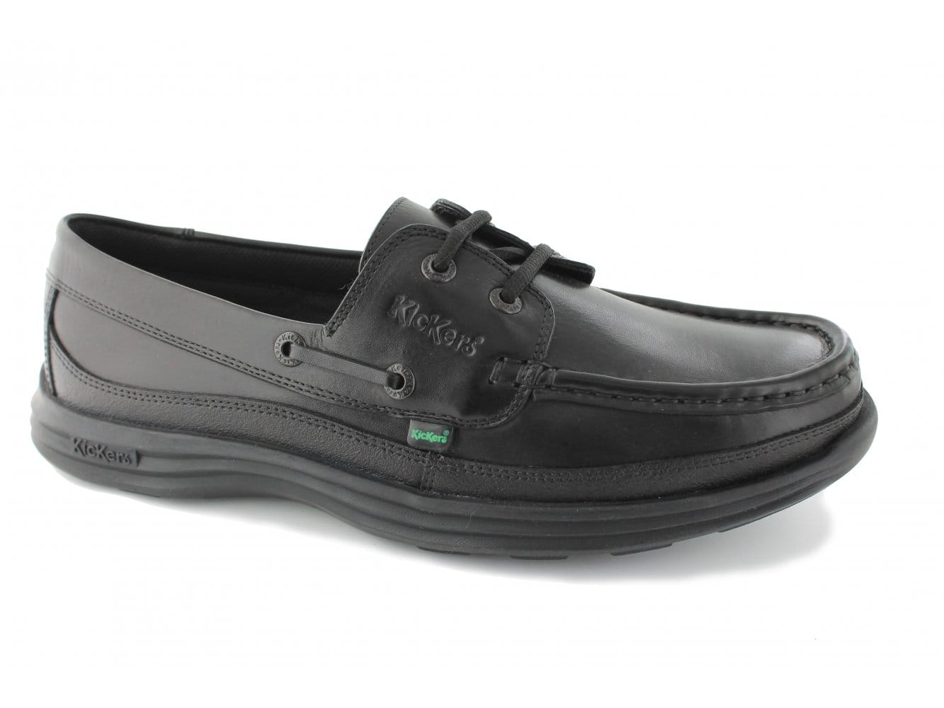 d38e7ed27eff ... Kickers REASAN BOAT Mens Leather Deck Shoes Black Shuperb