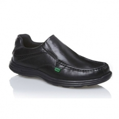 REASAN SLIP Mens Leather Slip-On Shoes Black