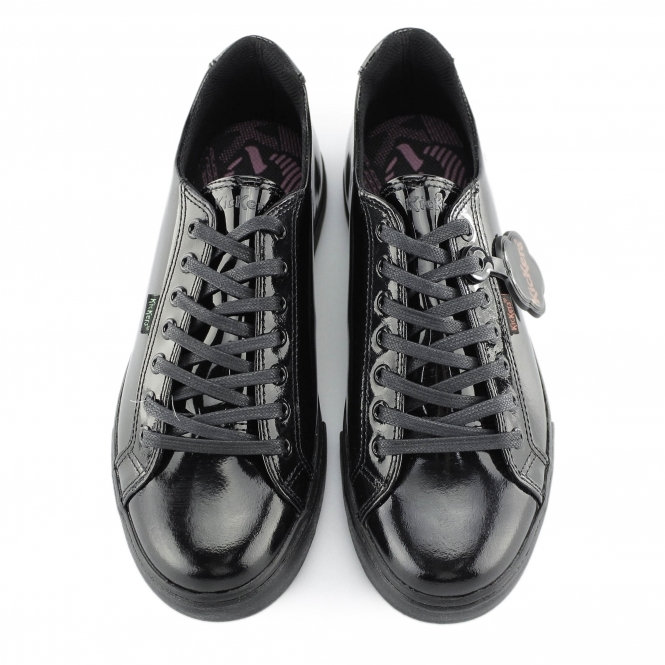 99f26b7d Kickers TOVNI LACER Girls Patent Leather Trainers Black | Shuperb
