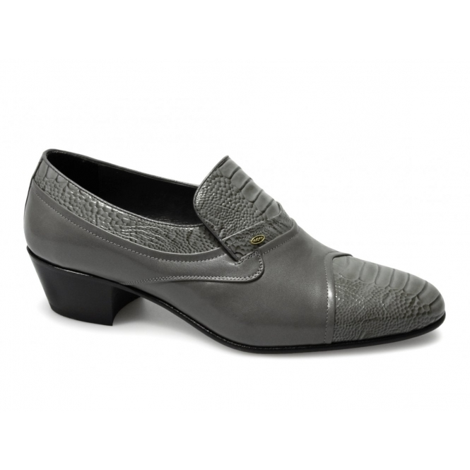 Shuperb KIKO Mens Soft Leather Reptile Cuban Heel Shoes Grey