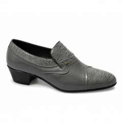 KIKO Mens Soft Leather Reptile Cuban Heel Shoes Grey