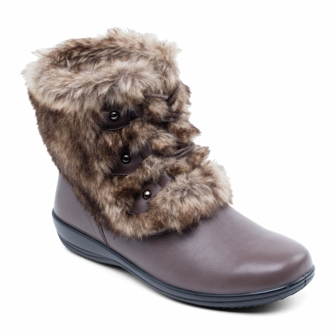 Padders KIM Ladies Leather Extra Wide Fit Faux Fur Boots Brown
