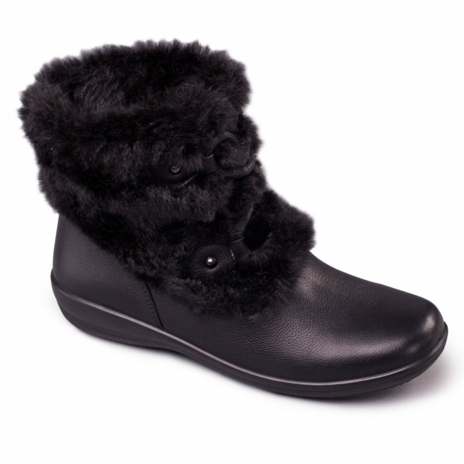 Padders KIM Ladies Leather Extra Wide Fit Faux Fur Trim Boots Black