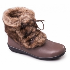 KIM Ladies Leather Extra Wide Fit Faux Fur Trim Boots Taupe