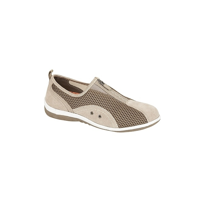 Boulevard KIMBERLEY Ladies Centre Zip Mesh Leisure Shoes Beige