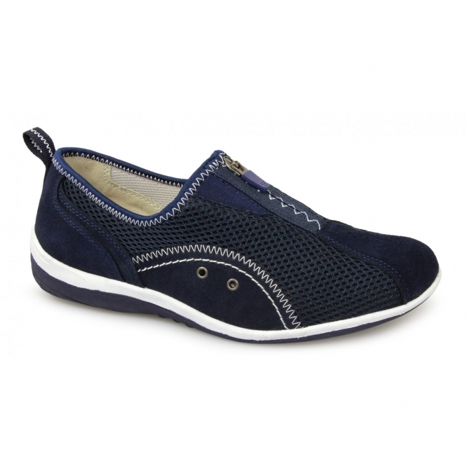 Boulevard KIMBERLEY Ladies Centre Zip Mesh Leisure Shoes Navy