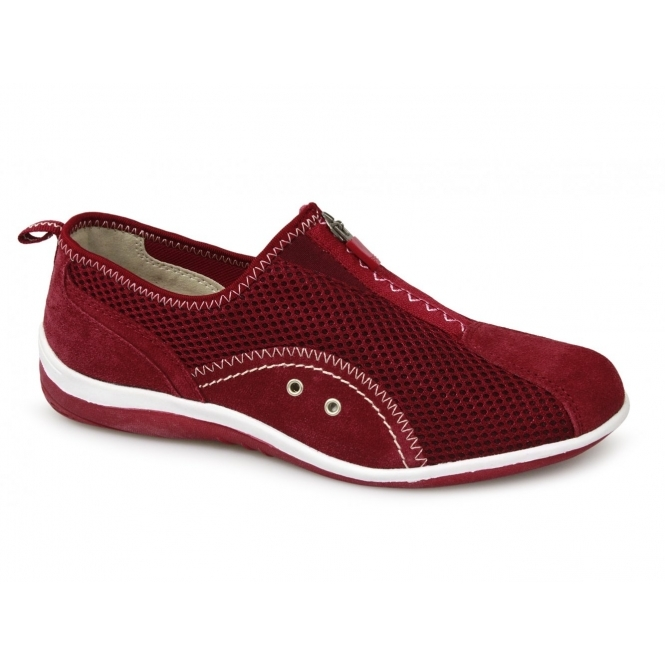 Boulevard KIMBERLEY Ladies Centre Zip Mesh Leisure Shoes Red
