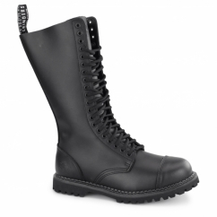 KING CS Unisex Leather Steel Toe Mid Calf Boots Black
