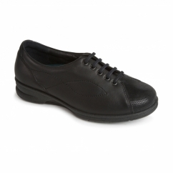 KIRA Ladies Leather Super Wide Plus Trainer Shoes Black/Combi
