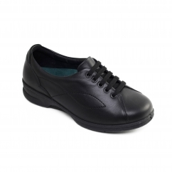 KIRA Ladies Leather Super Wide Plus Trainer Shoes Black