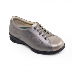 KIRA Ladies Leather Super Wide Plus Trainer Shoes Metallic/Combi