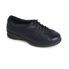 KIRA Ladies Leather Super Wide Plus Trainer Shoes Navy