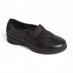KIRSTEN Ladies Leather Super Wide/Plus Touch Fasten Shoes Black