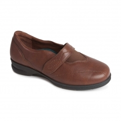 KIRSTEN Ladies Leather Super Wide/Plus Touch Fasten Shoes Brown