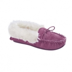 KIRSTY Ladies Suede Moccasin Slippers Plum