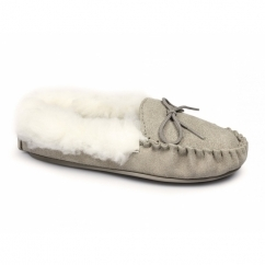 KIRSTY Ladies Suede Moccasin Slippers Taupe