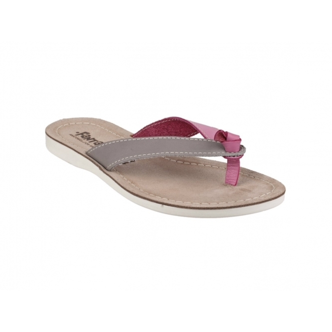 Fantasy Ladies Kos Leather Flip Flop Sandal Grey Leather
