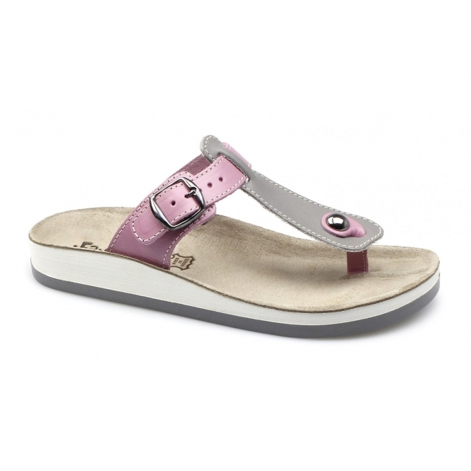 Fantasy Sandals KRIOS Ladies Toe Post Slip On Sandals Grey/Pink