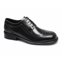 KROMBY Mens Lace Up Leather Brogue Shoes Black