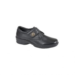 KYLIE Ladies Touch Fasten Soft Leather Shoes Black