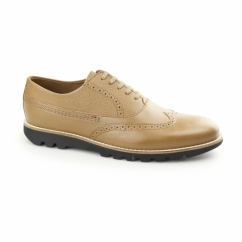 KYMBO BROGUE Mens Leather Oxford Shoes Tan