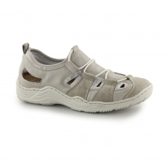 Rieker L0561-42 Ladies Leather Sports Sandals Grey