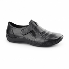 L1763-00 Ladies Leather Touch Fasten Shoes Black