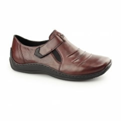 L1763-35 Ladies Leather Touch Fasten Shoes Wine