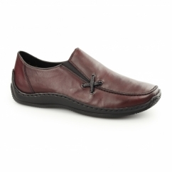L1783-36 Ladies Leather Slip-On Loafer Shoes Wine