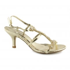 L3340XM Ladies Buckle Jewelled Heels Gold