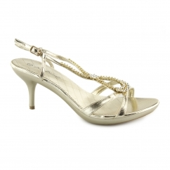 L3349XM Ladies Buckle Strappy Stiletto High Heels Gold