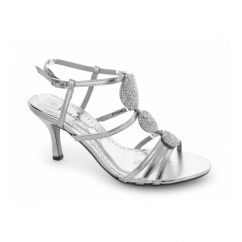 L3351RM Ladies Buckle Circle Jewelled High Heels Silver