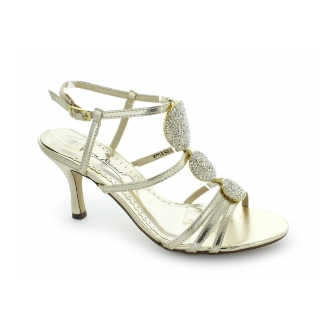 Anne Michelle L3351XM Ladies Buckle Circle Jewelled High Heels Gold